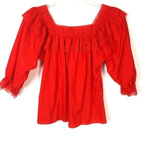 Vintage Square Dance Prairie Ruffle Lace Red Top